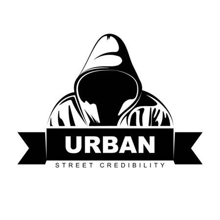 Man in hoodie. Hooded man. Logo design. Urban. Street art. Vector Ilustration.