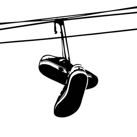 Schoenen gooien. Sneakers op Power Lines. Vector Vector Illustratie