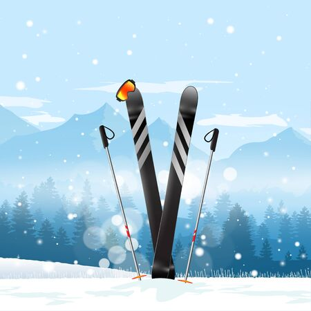 Pair of cross skis in snow. Ski winter mountain landscape background. Vector illustration. Archivio Fotografico - 129619130