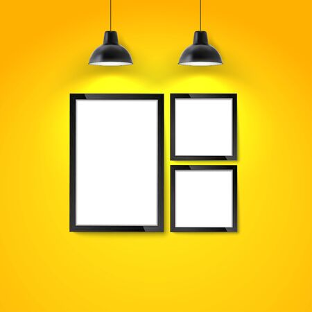 Photo art gallery mockup. Picture frame on yellow wall with hanging lamp. Blank photo frame or poster template.