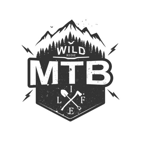 MTB mountain biking retro decorative emblem. Editable badge with mountain and forest. Labels with retro vintage styled design