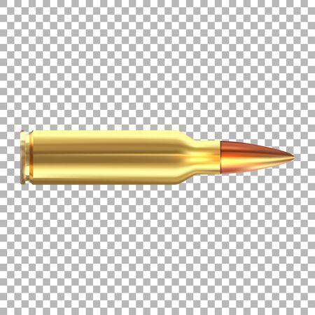 Une balle de fusil sur fond blanc