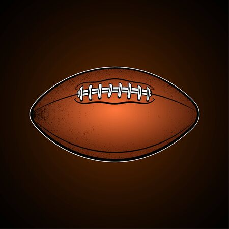 Brown Rugby Ball. Cartoon style oval shaped ball. American football accessories.