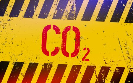 co2 gas lettering on danger sign with yellow and black stripes.