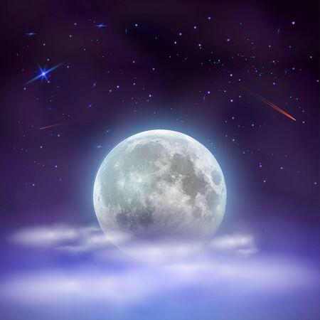 Cielo notturno con la luna piena nascosta dietro le nuvole. Notte mistica magica con stelle e comete cadenti. Illustrazione di vettore.