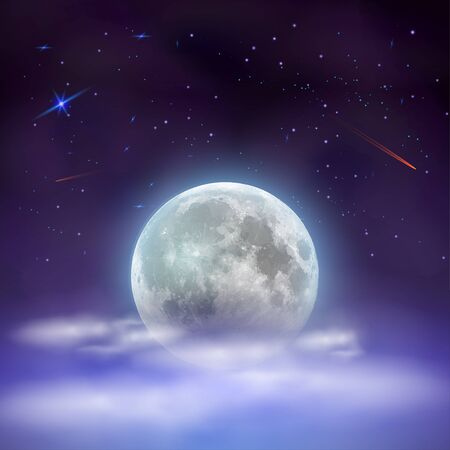 Night sky with full moon hidden behind clouds. Magical mystical night with stars and falling comets. Vector Illustration.