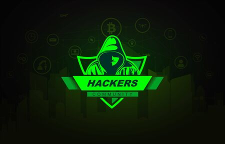 Hacker with the hoodie on technology background. Vector Logo.