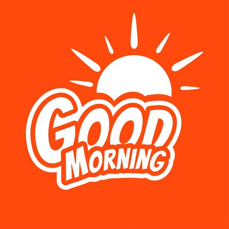 Good Morning lettering text with the sun.