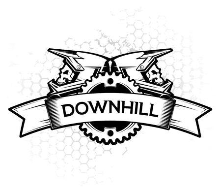 Diseño de logotipo con anillo de cadena de cinta y cascos integrales. Diseño de etiquetas Downhill Motocros. Descenso, Freeride, Enduro, MTB. Ilustración de vector.