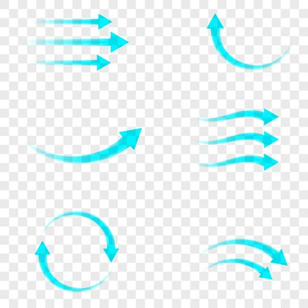 Set of blue arrow showing air flow isolated on transparent background. Vector design element. Illustration