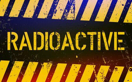 Panneau d'avertissement radioactif. Symbole de danger de l'énergie nucléaire avec des rayures jaunes et noires de danger. Illustration vectorielle.