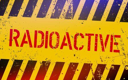 Panneau d'avertissement radioactif. Symbole de danger de l'énergie nucléaire avec des rayures jaunes et noires de danger. Illustration vectorielle. Vecteurs