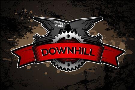 Diseño de etiquetas Downhill Motocros. Casco integral. Bicicleta de montaña. Ilustración de vector.