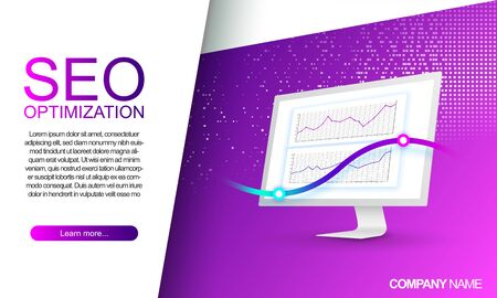 White computer monitor with traffic chart. Landing page for seo optimization. Mobile app development. Digital marketing. Website traffic monitoring. Modern web pages for web sites.