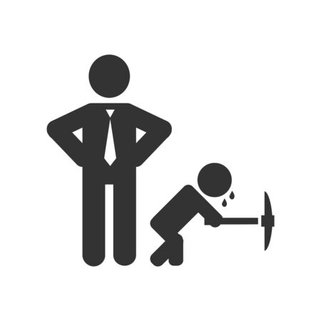 Child labour vector illustration with working kid and businessman.