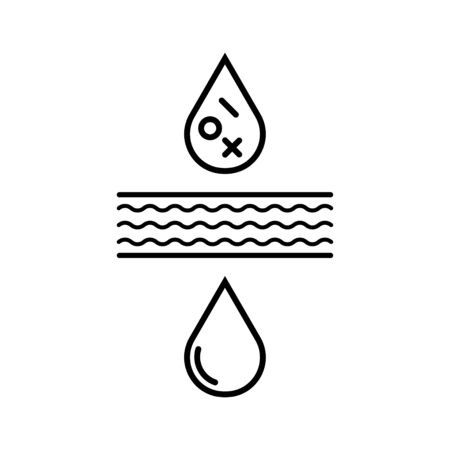 Water filter icon. Water drop befor and after filtration. Stock Vector - 136095061