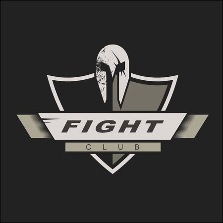 Logo template with spartan helmet and shield. Fight club logo design. Vector Illustration. Knights logo design template for a sport team 矢量图像
