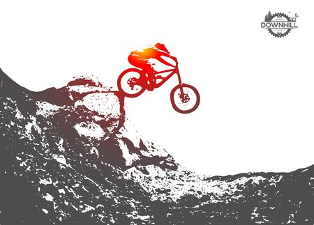 Mountain biking, downhill, freeride, extreme sport illustration. Vector Silhouette. Jumping from hill on the bike