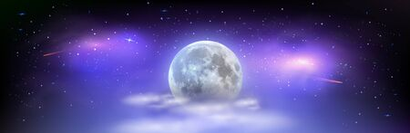nocni oblohaBeautiful wide picture of space with full moon hidden behind the clouds. Mystical night sky with stars comets and milky way.