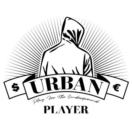Mann im Kapuzenpulli. Mann mit Kapuze. Logo Design. Urban. Straßenkunst. Vektor-Illustration. Urbane T-Shirt-Grafik. Logo