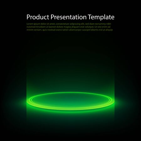 Neon pedestal. Green glowing ring on glossy floor. Abstract hi-tech background for display product. Vector template. Illustration