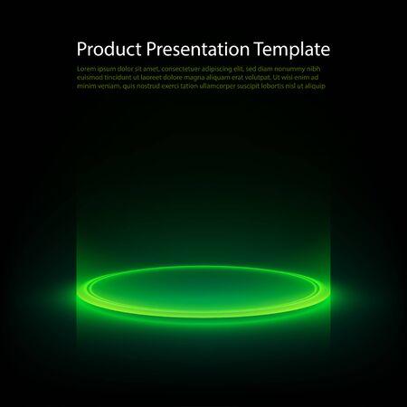 Piédestal néon. Anneau lumineux vert sur sol brillant. Abstrait de haute technologie pour le produit d'affichage. Modèle vectoriel.