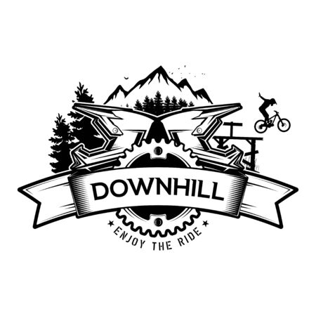 Downhill mountain biking. The emblem of the bicycle and the mountains. Concept for shirt or logo, print, stamp or tee. Vector illustration.