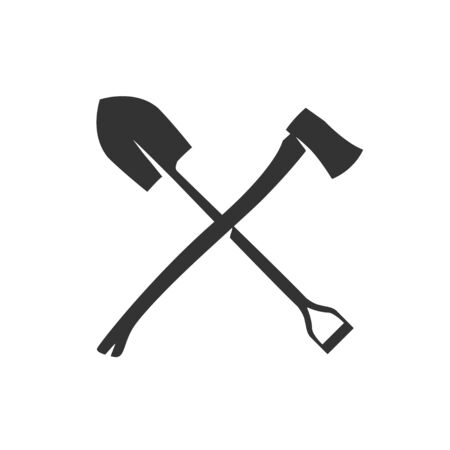 Crossing shovel and axe vector icon isolated on white. Reklamní fotografie - 138085450