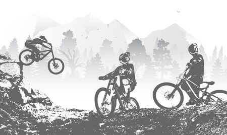 Downhill mountai biking freeride and enduro illustration. Bicycle background with silhouette of downhill riders in mountain. Vector Illustration