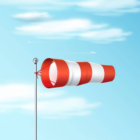 Windsock on the blue sky. Red and white airport wind flag showing wind direction and speed. 일러스트