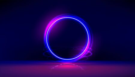 Dark abstract furistic background with circle gate. Vector neon gloving ring in dark room. Round light frame for text. Portal to another universe. 向量圖像