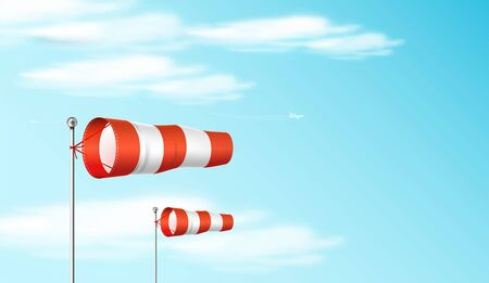 Red and white airport wind flag showing wind direction and speed. Windsock on the blue sky. Realistic vector illustration. Ilustração