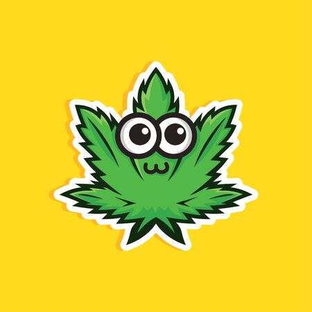 Cartoon style. Medical cbd oil and hemp ointment sticker. vector illustration. Cute cannabis leaf on yellow background. Illustration