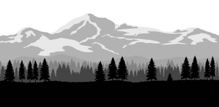 Wide landscape with mountains and forest. Flat design nature background. Banco de Imagens - 141683351