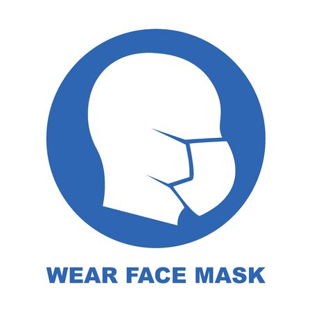 Wear face mask blue sign. Silhouette of head with medical mask on face in red circle. Vector Illustration.