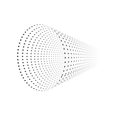 Vector tunnel from small particles. Isolated on white. Illustration