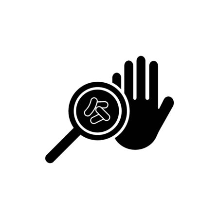 Germs on a dirty hand. Bacteria under magnifier, hand washing and hygiene campaign. Vector Icon.