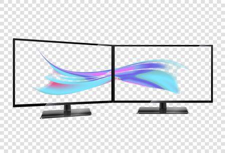 Multiple Screen. Multiple wallpaper on transparent screens. Two desktop monitors full hd aspect ratio 16 9.
