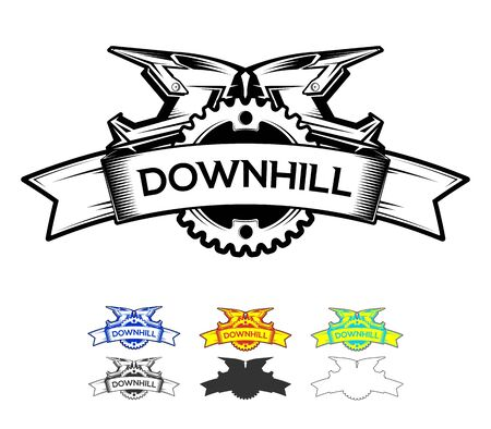 Downhill Motocros Label Design. Logo design with ribbon chain ring and full face helmets. Downhill, Freeride, Enduro, MTB. Vector Ilustration.