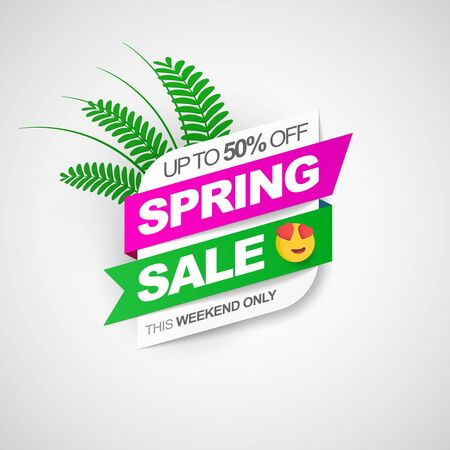 Spring sale. Creative discount banner with ribbons palm leaves. 50 off. This weekend only.