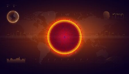 Danger of deadly virus. Hologram of coronavirus COVID-2019 on futuristic background in HUD style. Infection in the world. Biological disease. Microbiological study. Virus cell analysis.