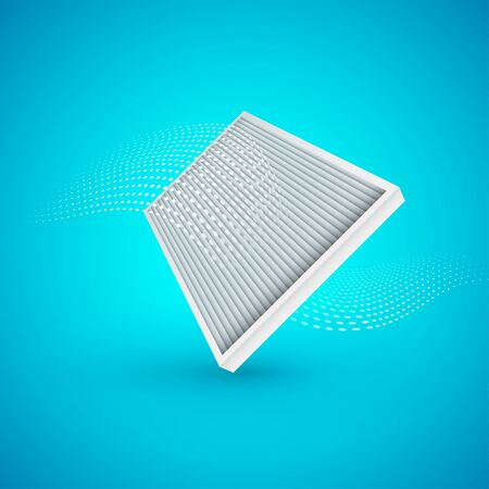 Air filter with air flow on blue background. Vector Illustrtaion.