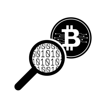 Bitcoin And Magnifying Glass. Bitcoin Verification. Vector Ilustration.