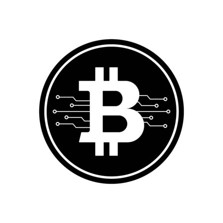 Bitcoin Icon With Micro Scheme. Vector Ilustration.