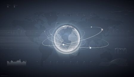 HUD interface with hologram of earth with satellite around. Earth impact monitoring. Technological digital globe world. The navigation system. ontrol center dashboard. Earth globe hologram. Illustration