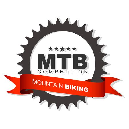 Bicycle chainring with red ribbon and place for text. Bicycle competition sign with gear. Illustration