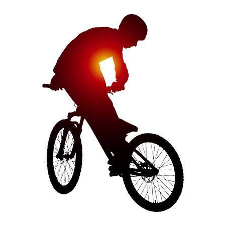 Vector silhouette of biker doing trick on bike. Illustration