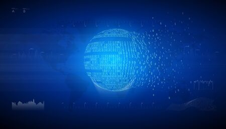 Binary globe sphere. Connection information data exchange. Technology planet. Big data. Global network. Artificial intelligence. From chaos to system.