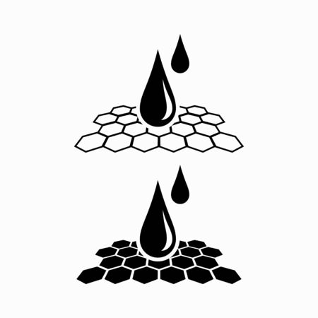 Water repellent material. Hydrophobic coverage. Nanotechnology, impermeable, waterproof, Vector icon. Vector Illustration