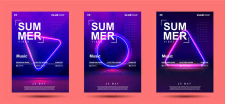 WebElectronic Music Covers for Summer Night Party or Club Party Flyer. 3d Retro Light Signboard With Shining Neon Effect. Colorful Vector Illustration in 80s Style